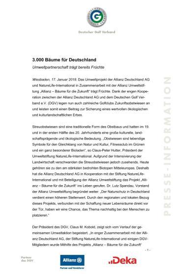 Pressemitteilung: Allianz - Bäume für die Zukunft