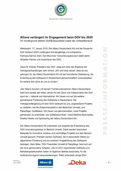 Pressemitteilung: Allianz verlängert ihr Engagement