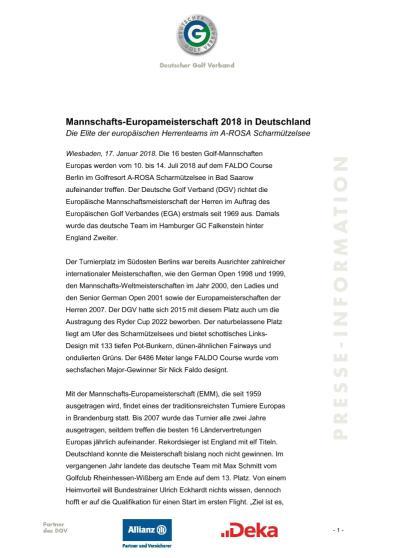 Pressemitteilung: EMM 2018 in Deutschland