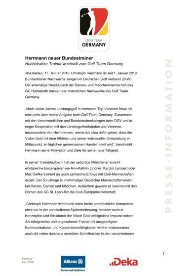 Pressemitteilung: Herrmann neuer Bundestrainer