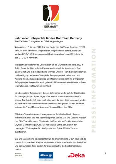 Pressemitteilung: Jahr voller Höhepunkte für GTG
