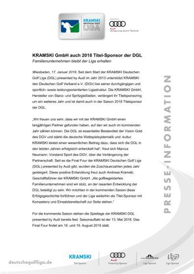 Pressemitteilung: Kramski auch 2018 Titelsponsor