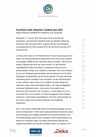 Pressemitteilung: Pearl stellt offizielle Golfball des DGV