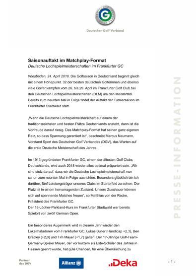 Pressemitteilung: Saisonauftakt im Matchplay-Format