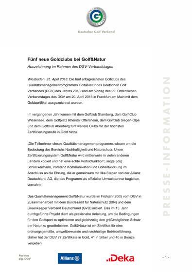 Pressemitteilung: Golf&Natur Qualitätsmanagementprogramm