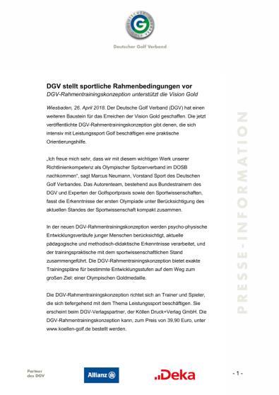 Pressemitteilung: DGV-Rahmentrainingskonzeption