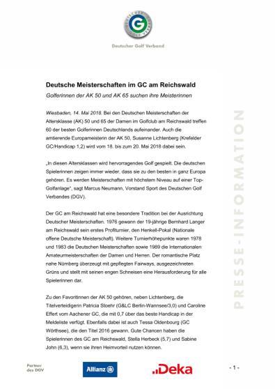 Pressemitteilung: Deutsche Meisterschaften im GC am Reichswald