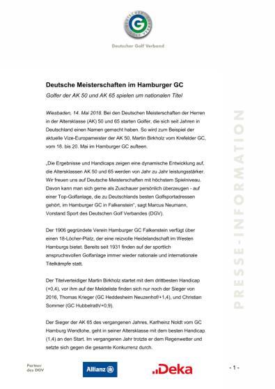 Pressemitteilung: Deutsche Meisterschaften im Hamburger GC