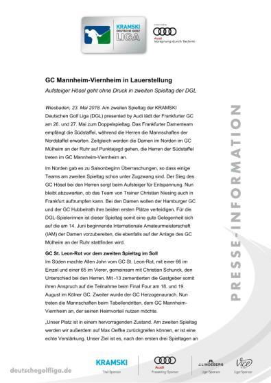 Pressemitteilung: GC Mannheim-Viernheim in Lauerstellung