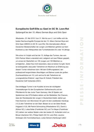 Pressemitteilung: Europäische Golf-Elite zu Gast im GC St. Leon-Rot