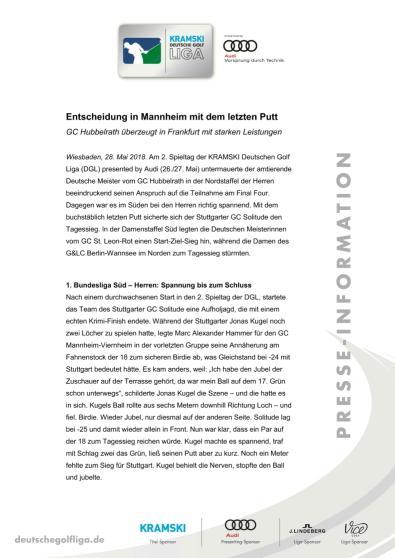 Pressemitteilung: Entscheidung in Mannheim mit dem letzten Putt