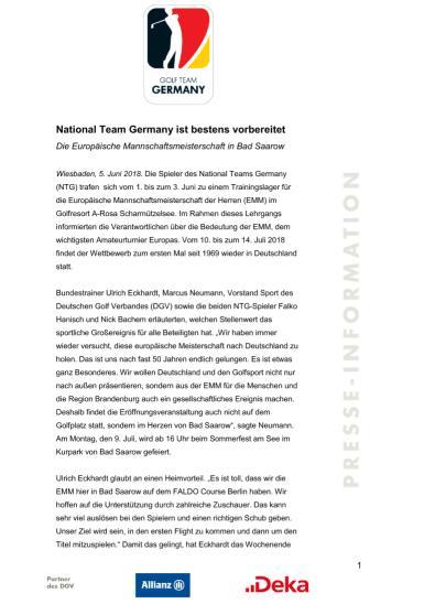 Pressemitteilung: Team Deutschland ist bestens vorbereitet