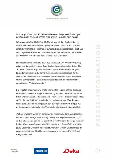 Pressemitteilung: Lindblad und Larcelet gewinnen Allianz German Boys & Girls Open