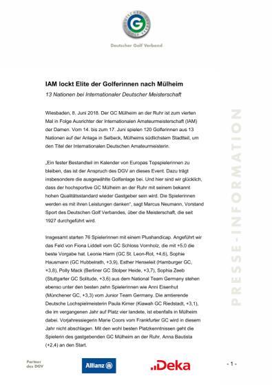 Pressemitteilung: IAM lockt Elite der Golferinnen nach Muelheim