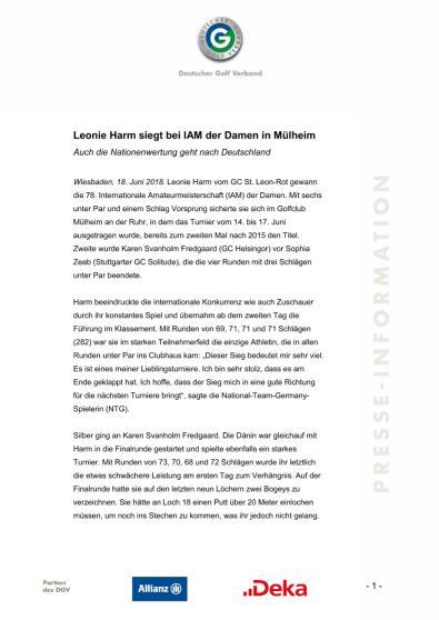 Pressemitteilung: Leonie Harm siegt bei IAM in Mülheim