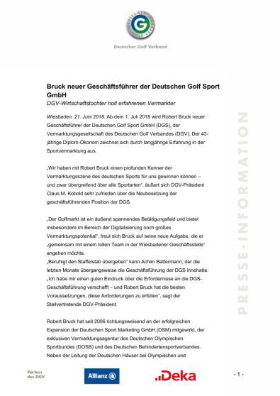 Pressemitteilung: Bruck neuer Geschäftsführer DGS