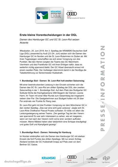 Pressemitteilung: Erste kleine Vorentscheidungen in der DGL