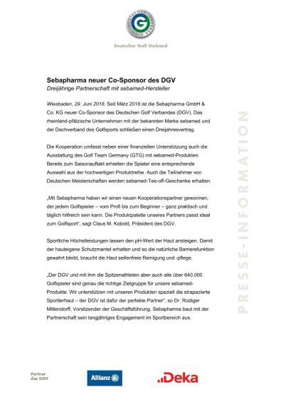 Pressemitteilung: Sebapharma neuer Partner des DGV