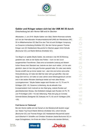 Pressemitteilung: Gabler und Krieger setzen sich bei IAM AK 50 durch