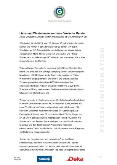Liehs und Westermann erstmals Deutsche Meister