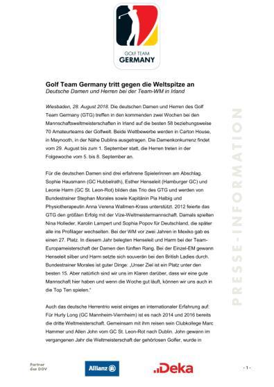 Pressemitteilung: Golf Team Germany tritt gegen die Weltspitze an