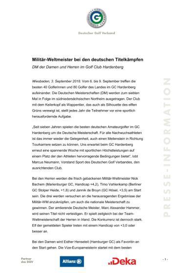 Pressemitteilung: Militär-Weltmeister bei den deutschen Titelkämpfen