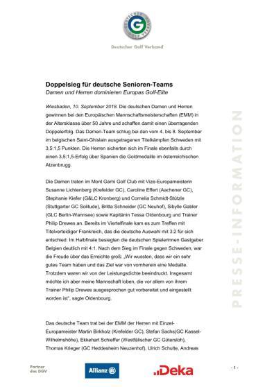 Pressemitteilung: Doppelsieg für deutsche Senioren-Teams