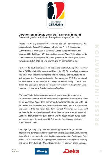 Pressemitteilung: GTG-Herren mit Platz zehn bei Team-WM in Irland