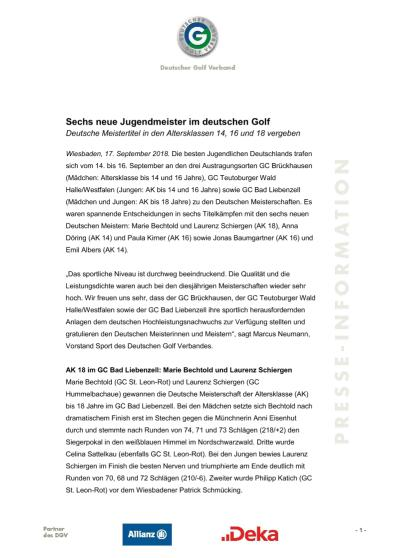 Pressemitteilung: Sechs neue Jugendmeister im deutschen Golf