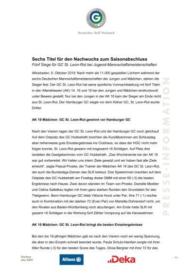 Pressemitteilung: Sechs Titel für den Nachwuchs zum Saisonabschluss