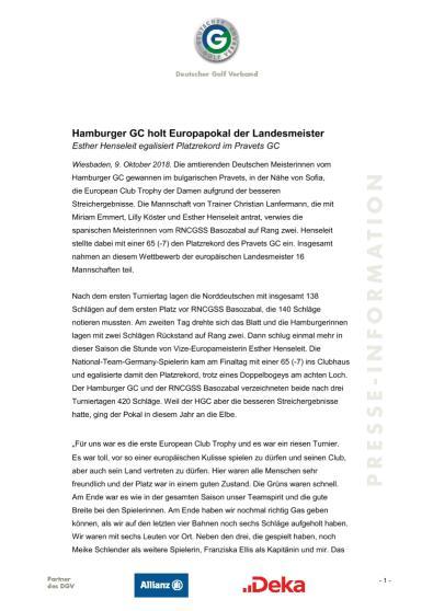 Pressemitteilung: Hamburger GC holt Europapokal der Landesmeister