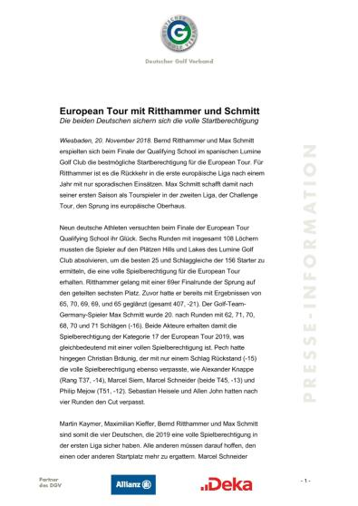 European Tour mit Ritthammer und Schmitt
