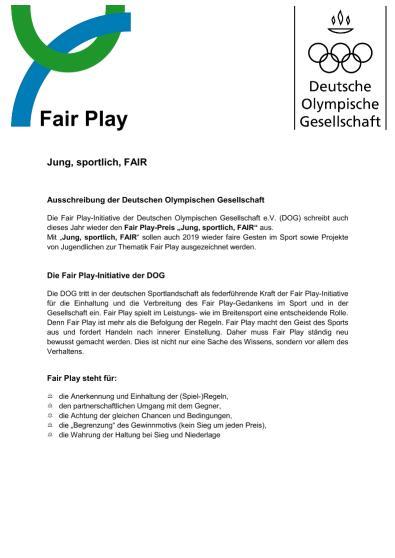 Jung sportlich FAIR Ausschreibung und Bewerbung 2019