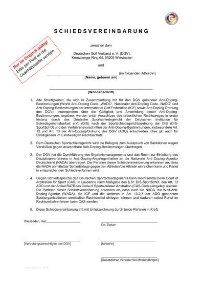 DGV-Schiedsvereinbarung 2020