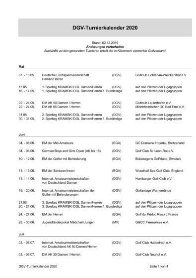 DGV-Turnierkalender 2020