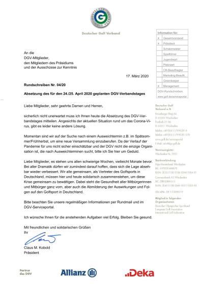 DGV-Rundschreiben 4/2020: Absetzung Verbandstag 2020