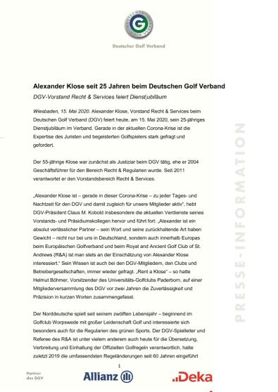 PM: 25-jähriges Jubiläum Alexander Klose
