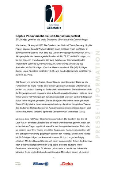 Pressemitteilung: Sophia Popov gewinnt Women's British Open