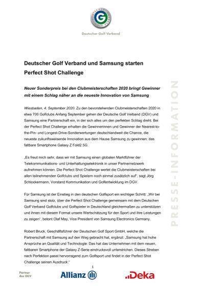 Pressemitteilung: Deutscher Golf Verband und Samsung starten Perfect Shot Challenge