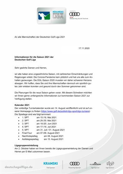 Informationen für die Saison 2021 der Deutschen Golf Liga