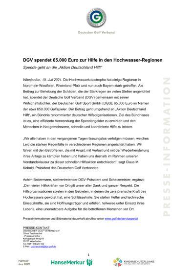 DGV spendet 65.000 Euro