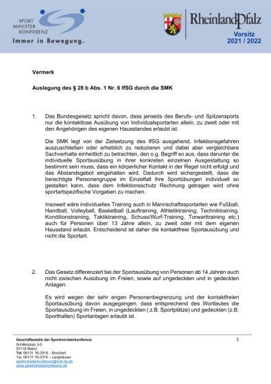 Auslegung IfSG durch SMK - Anlage zu Bulletin Nr. 32