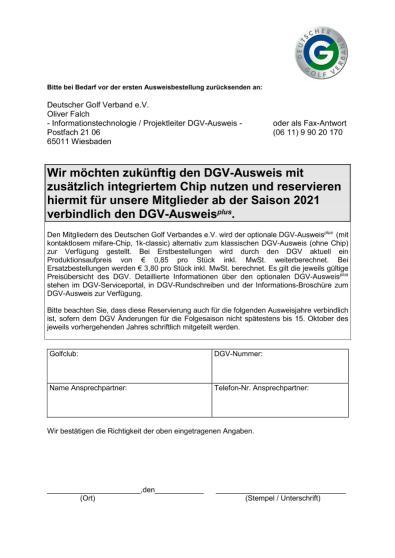 Bestellformular DGV-Ausweisplus