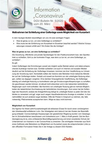 DGV-Bulletin Nr. 5 vom 20. März 2020