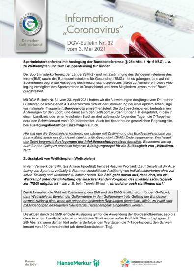 DGV-Bulletin Nr. 32 vom 3. Mai 2021