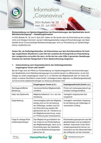 DGV-Bulletin Nr. 35 vom 22. Juli 2021