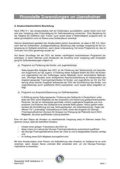Merkblatt Finanzielle Zuwendungen an Lizenztrainer