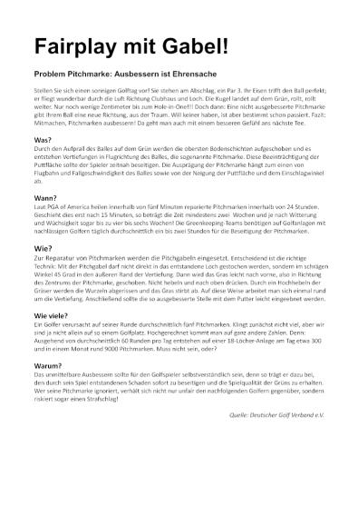 Pitchmarke Ausbessern Text Kurzform