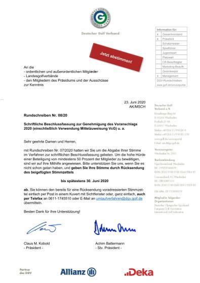 Rundschreiben 8/2020 (Schriftliches Beschlussverfahren)