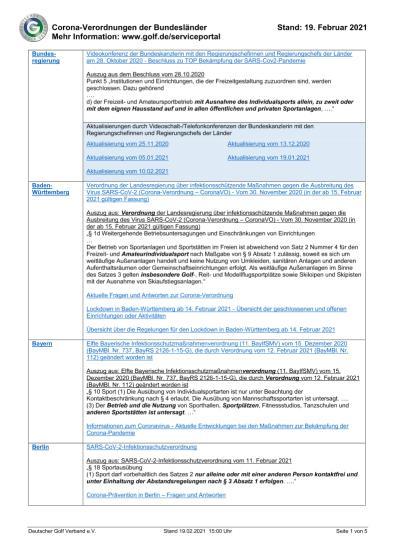 UPDATE Verordnungen Stand: 19. Februar